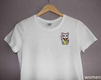 T-Shirt with Lucky Cat Patch black/white Men/Women