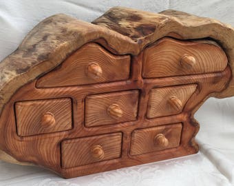 Solid Yew Miniture Chest of Drawers/Jewellery Box.