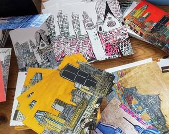 Set of 40 cards Montreal small map postcard Decorative melaniebernard.com Creation