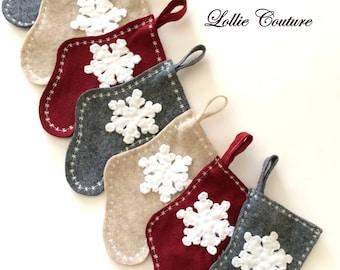 Mini Christmas stocking, Felt Stockings, Gift Card Stocking, gift card stocking