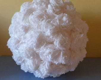 White crepe paper flower ball decorations