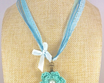 Lace necklace, Ribbon Necklace, Lace jewellery, Romantic necklace, Jewellery, Aqua rose, Rose, Crochet necklace, Gift for her, Romance, OOAK