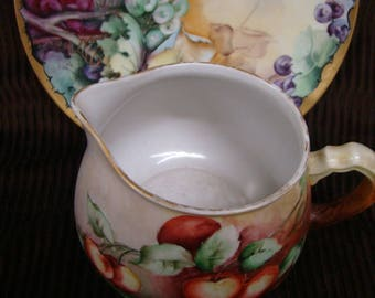 """Limoges Cider Pitcher with Tray 12.4"""" Hand Painted France"""
