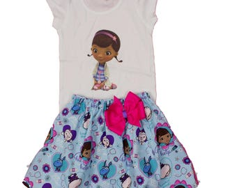 Girl outfit Doc McStuffins birthday outfit, Girl name Doc outfit toddler name age outfit girl dress  toddler  baby  age name outfit