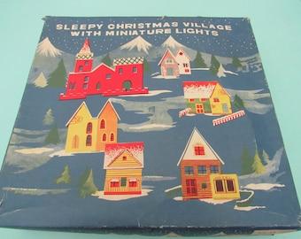 Vintage Sleepy Christmas Village with Miniature Lights 1950s Japan Free Shipping