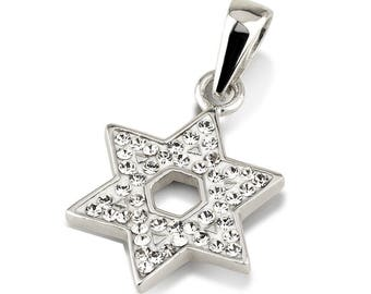Star of David Pendant With White Gemstones + 925 Sterling Silver Necklace