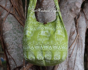Hippy sling bag Medium Elephants Cotton Shoulder Sling Bag Messenger Cross body Bohemian Gypsy  Beach Yoga Hobo  Gift  Purse handmade Green