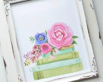 Flower + Books Art Print
