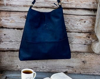 Genuine leather hobo bag with regulated handle - Blu leather shoulder bag - Navy blue hobo bag-  Christmas gift - Christmas present