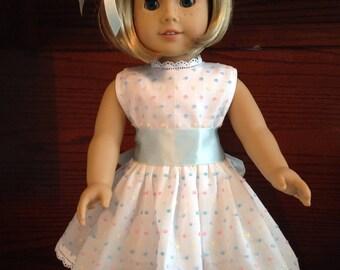 "18"" Dotted Swiss Doll dress"