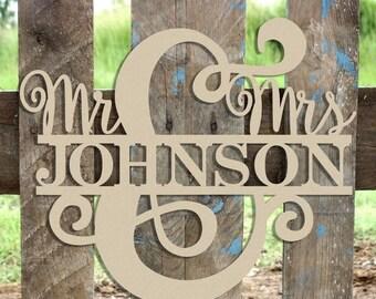 July Sale Mr & Mrs Name Frame Sign Unfinished