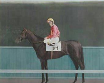 Bryan Organ Jockey Lester Piggott on Horse 1973 Lithograph