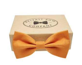 Handmade Bow Tie in Pumpkin Orange - Adult & Junior sizes available