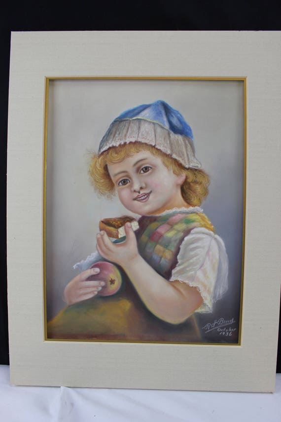 Original Pastel & Gouache Drawing Portrait Young Dutch Girl From Elkhart Ind. Rene S Berry 1936