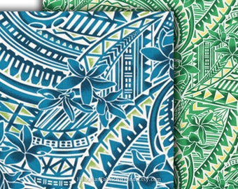 Tattoo Fabric Polynesian Tribal Tapa and Floral, Green Teal-Blue, HPCN10197/HPCN10198, Ask for Bulk