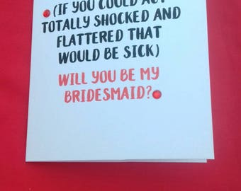 Act Surprised, Will You Be My Bridesmaid Card, Wedding Stationery, Cards For Bridesmaid, Bridal Party Cards, Red Wedding Accessories