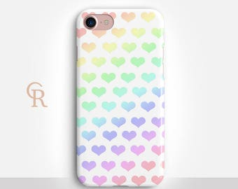 Heart Phone Case For iPhone 8 iPhone 8 Plus iPhone X Phone 7 Plus iPhone 6 iPhone 6S  iPhone SE Samsung S8 iPhone 5 Rainbow Cute Love