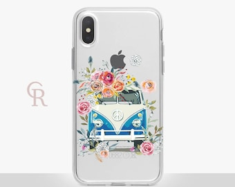 VW Bus Clear Phone Case - Clear Case - For iPhone 8 - iPhone X - iPhone 7 Plus - iPhone 6 - iPhone 6S iPhone SE Transparent Samsung S8 Plus
