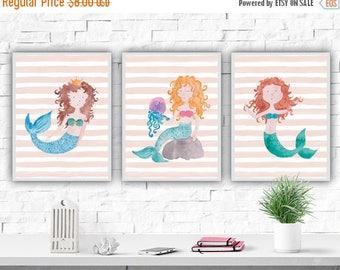 SALE Mermaid Watercolor Nursery Art Print Nursery Set Mermaid Poster Girl's Room Nursery Decor Mermaid Print Nautical Nursery Nautical Decor