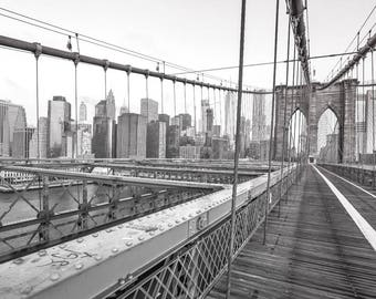 New york skyline canvas art large wall art canvas new york for Brooklyn bridge black and white wall mural
