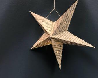 Paper Star Lantern / Literature / Book Lover / Party Decor / Boom Page Art