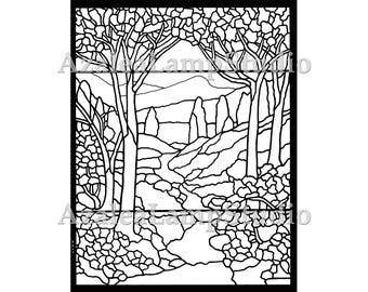 Art Nouveau Print, Stained Glass Patterns, Pattern Designs, Pattern Pdf, Tree SVG, Coloring Pages, Pattern Svg, Pattern Print, Tree Print