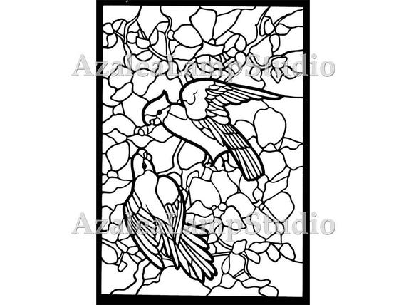 Stained Glass Birds, Glass Patterns, Stained Glass, Coloring Pages, Pattern Svg, Pattern Print, Birds svg, Stained Glass Window