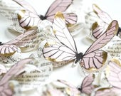 3d paper butterflies stickers, pink and gold baby shower decorations, blush wedding decor, butterfly party decorations, blush first birthday