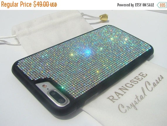 Sale iPhone 7 Plus Crystal AB  Rhinestone Crystals on Black Rubber Case. Velvet/Silk Pouch Bag Included, Genuine Rangsee Crystal Cases.