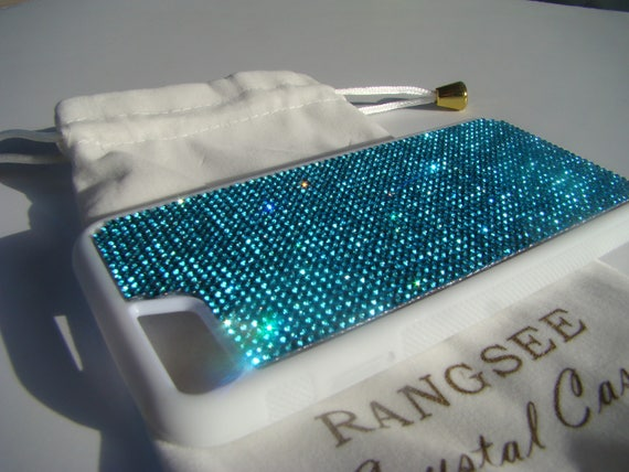 iPhone 8 / iPhone 7 Case Aquamarine Blue  Rhinestone Crystals on iPhone 7 White Rubber . Velvet/Silk Pouch Bag Included,