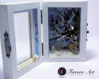 DIORAMA BOX MINIATURE art, landscape, diorama, animals, fox, pebble art, landscaping art, gift, wedding, decoration