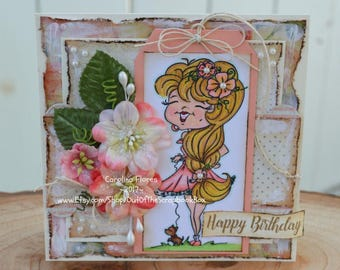 Birthday Card, Shabby Chic Birthday Card, Handmade Products