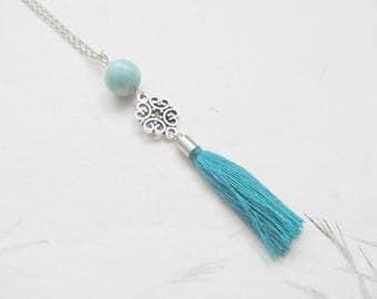 Amazonite necklace, yoga necklace, tassel necklace
