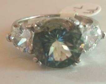 Green Amethyst/Prasiolite Sterling Silver Ring, Rhodium Plated, Natural Gemstone