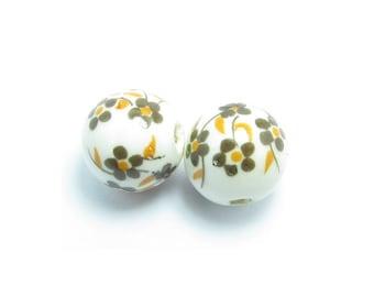 12.2 mm Pearl porcelain flowers Brown - ORANGE