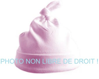 Hat 0-3 months cotton organic embroidery pink