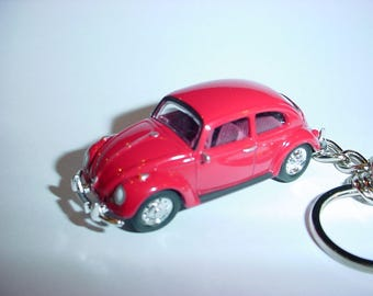 3D Volkswagen Beetle custom keychain by Brian Thornton keyring key chain finished in RED stock VW trim bug
