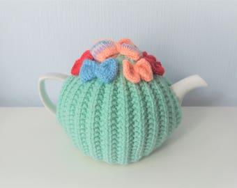 SALE - Turquoise Tea Cosy - Feminine Tea Cozy - Medium Tea Cosy - Bow Tea Cosy - Girly Tea Cosy  (Ready to post)