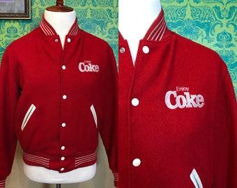 Vintage Letterman Jacket - Enjoy Coke Coca Cola Red Varsity Jacket - M