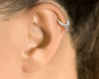 Sterling silver tragus earring. helix earring. tiny earring. cartilage piercing. cartilage jewelry. tragus jewelry. tragus hoop. 20 gauge.