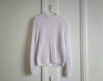 Hand made vintage sweater white and purple Heather purple retro speckled sweater collar chimney wool handmade knit sweater