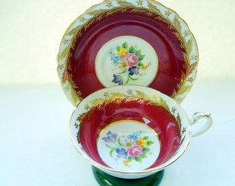 Paragon Floral Tea Cup Saucer Set Gold Burgundy Flowers Roses Gilded Birthday Wedding Anniversary Bridal Shower Collector Gift Vintage