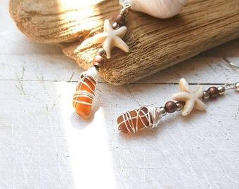 Seaglass and Starfish Earrings