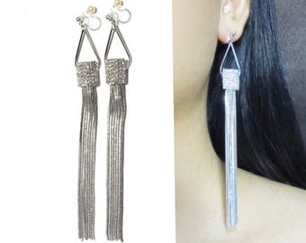 Chandelier Crystal Clip-On Dangle Earrings  31C  Silver Bridal Clip-ons Tassel Wedding Clip earring Long Clear Rhinestone Clip On Earrings