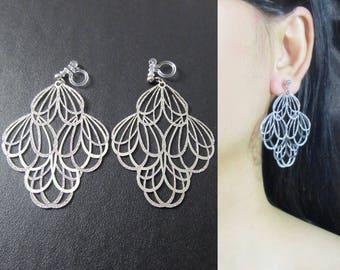 Lace Filigree Dangle Clip On Earrings  32C  Silver Leaf Clip on earrings, Big Bold Statement Clip on earrings, Long Clip Earrings, Clip-ons