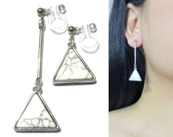White Marble Faux Stone Dangle Clip On Earrings |33d| Bar Silver Non Pierced Clip-ons Triangle Geometric Unmatched Long Clip Earring