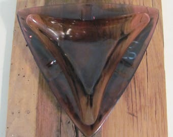 Vintage Mid Mod Triangular Glass Ashtray