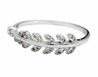 Fashion flashing small leaf ring