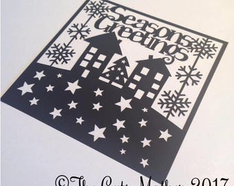 Seasons Greetings Houses Card Paper Cutting Template - Commercial Use