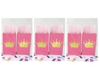 12PK Pink & Gold Crown Party Favor Bags with Handles